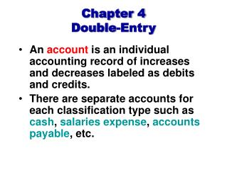 Chapter 4 Double-Entry