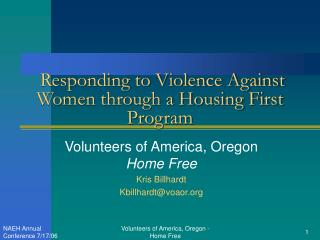 Responding to Violence Against Women through a Housing First Program