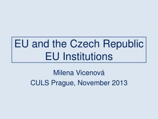 EU and the Czech Republic EU  Institutions