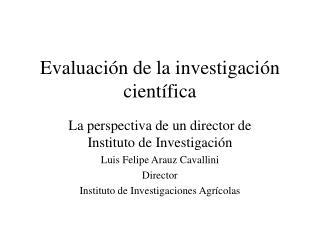 Evaluaci n de la investigaci n cient fica