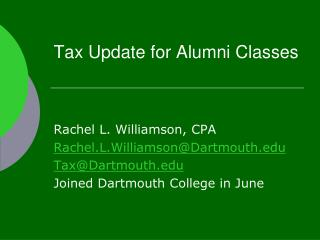 Tax Update for Alumni Classes