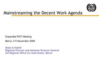 Mainstreaming the Decent Work Agenda