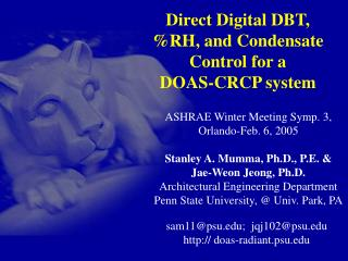 Direct Digital DBT, %RH, and Condensate Control for a  DOAS-CRCP system