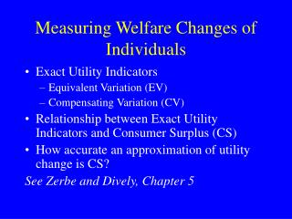 Measuring Welfare Changes of Individuals
