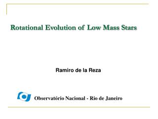 Rotational Evolution of Low Mass Stars