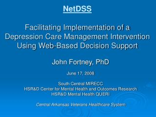 NetDSS  Facilitating Implementation of a Depression Care Management Intervention  Using Web-Based Decision Support