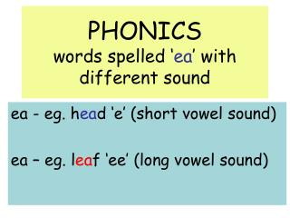 PHONICS words spelled ' ea ' with different sound