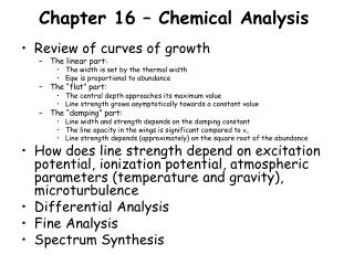 Chapter 16 – Chemical Analysis