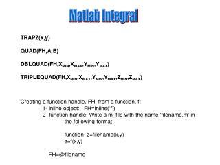 Matlab Integral