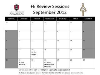 FE Review Sessions September 2012
