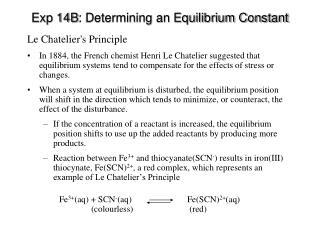 Exp 14B : Determining an Equilibrium Constant