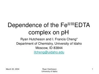 Dependence of the Fe II/III EDTA complex on pH