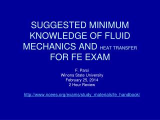 SUGGESTED MINIMUM KNOWLEDGE OF FLUID MECHANICS AND  HEAT TRANSFER  FOR FE EXAM