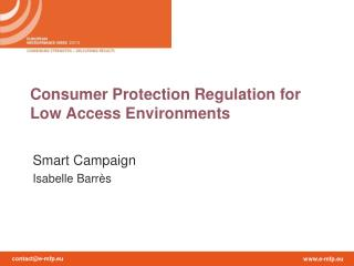 Consumer Protection Regulation for Low Access Environments