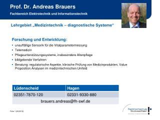 Prof. Dr. Andreas Brauers Fachbereich Elektrotechnik und Informationstechnik