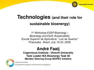 André Faaij Copernicus Institute - Utrecht University Task Leader IEA Bioenergy Task 40