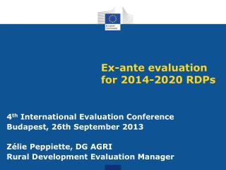 Ex-ante evaluation for 2014-2020 RDPs