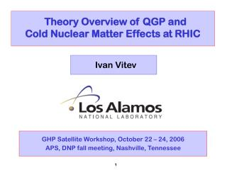 Theory Overview of QGP and  Cold Nuclear Matter Effects at RHIC