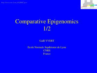 Comparative Epigenomics 1/2 Ga ë l YVERT Ecole Normale Sup é rieure de Lyon CNRS France