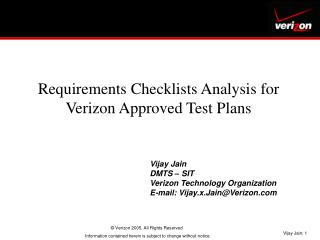 Requirements Checklists Analysis for Verizon Approved Test Plans