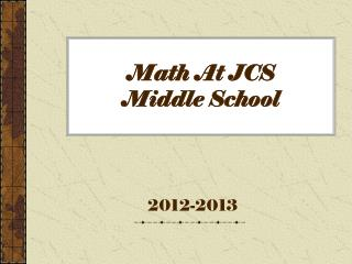 Math At JCS  Middle School