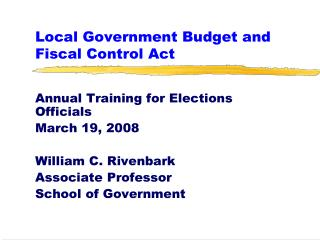 Local Government Budget and Fiscal Control Act