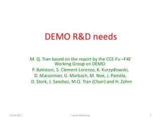 DEMO R&D needs