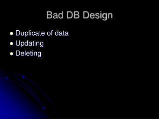 Bad DB Design