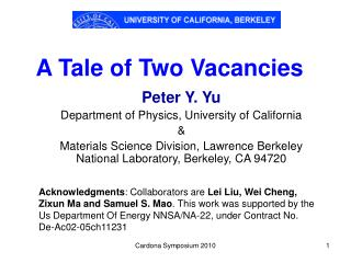 A Tale of Two Vacancies