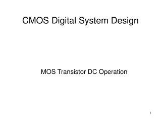 CMOS Digital System Design