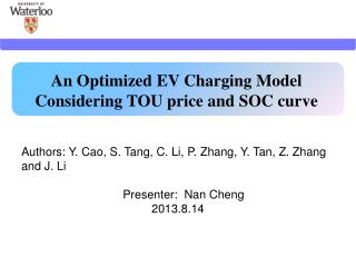 An Optimized EV Charging Model Considering TOU price and SOC curve