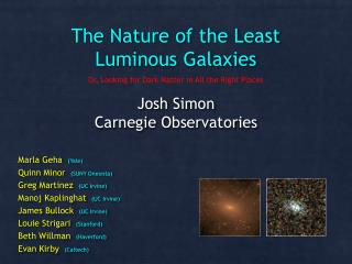 The Nature of the Least Luminous Galaxies