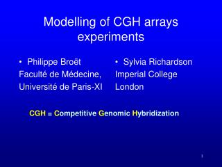 Modelling of CGH arrays experiments