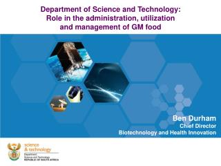 Department of Science and Technology: Role in the administration, utilization