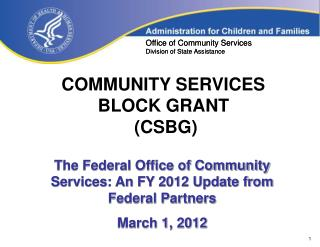 COMMUNITY SERVICES  BLOCK GRANT  (CSBG)