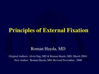 Principles of External Fixation
