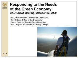 Responding to the Needs  of the Green Economy CAO/CSAO Meeting, October 22, 2009