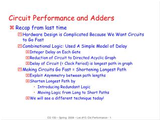 Circuit Performance and Adders