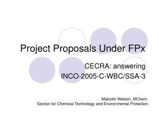 Project Proposals Under FPx