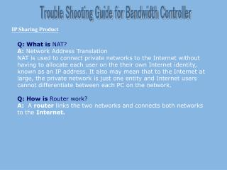 Trouble Shooting Guide for Bandwidth Controller