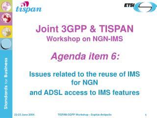 Joint 3GPP & TISPAN Workshop on NGN-IMS Agenda item 6:
