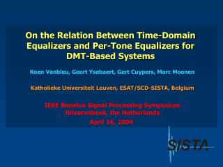 On the Relation Between Time-Domain Equalizers and Per-Tone Equalizers for DMT-Based Systems