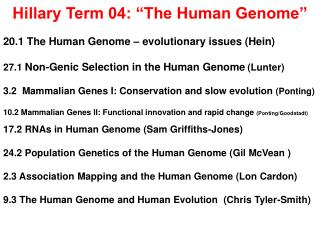 "Hillary Term 04: ""The Human Genome"""