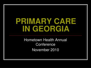 PRIMARY CARE IN GEORGIA