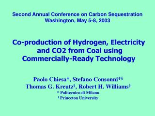 Co-production of Hydrogen, Electricity  and CO2 from Coal using Commercially-Ready Technology