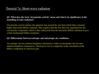 Tutorial 7a: Short-wave radiation