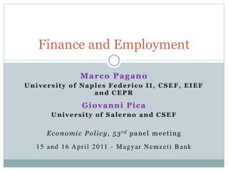 Finance and Employment