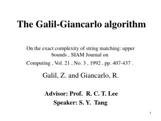 The Galil-Giancarlo algorithm