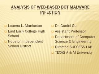 ANALYSIS OF WEB-BASED BOT MALWARE INFECTION