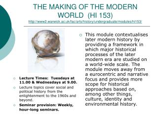 Lecture Times:  Tuesdays at 11.00 & Wednesdays at 9.00.